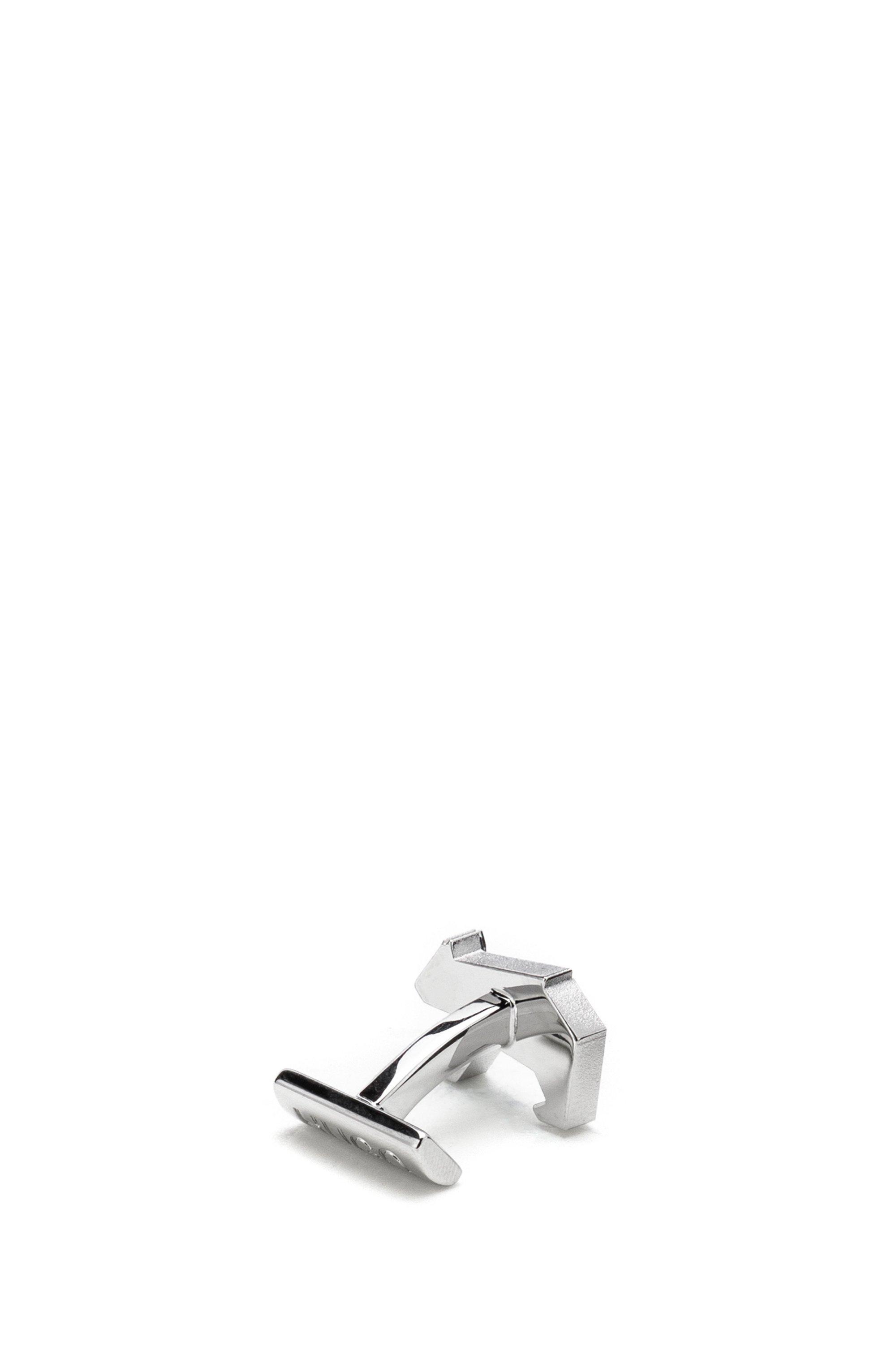 Origami-bear cufflinks in polished brass