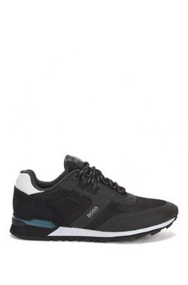 Hybrid-Sneakers aus Nylon, Mesh und Leder, Schwarz