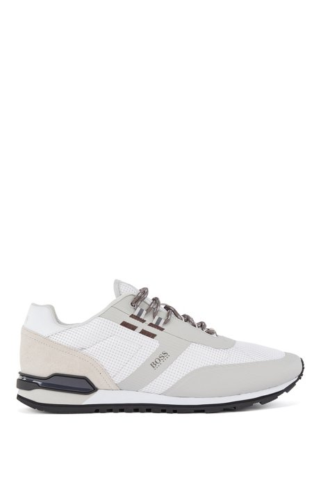 Hybrid trainers in nylon, mesh and leather, White