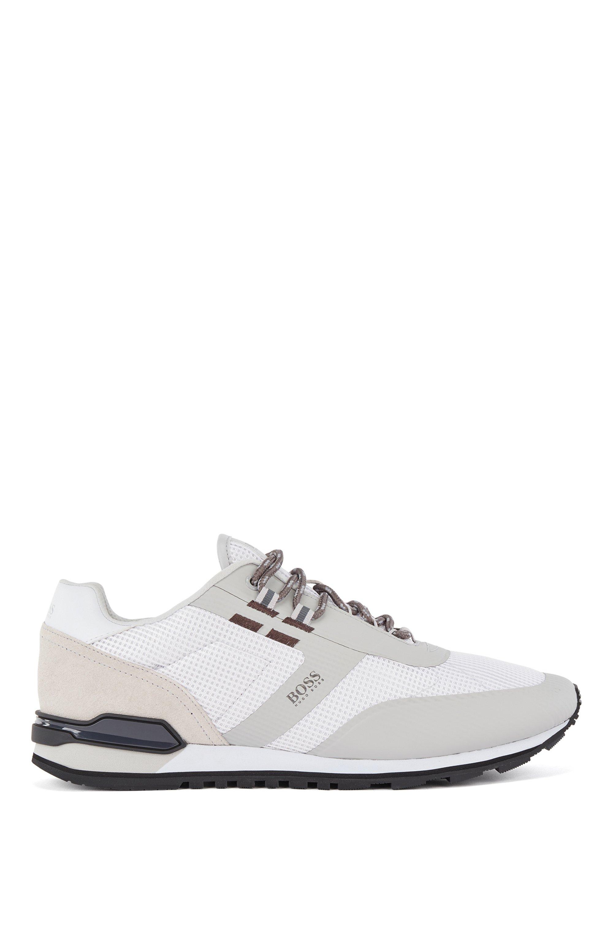 Hybrid-Sneakers aus Nylon, Mesh und Leder, Weiß