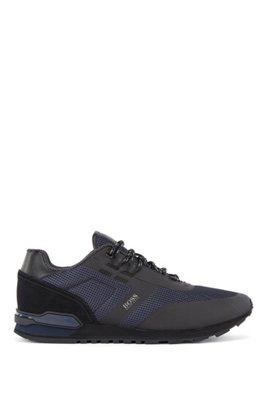 Hybride sneakers van technisch materiaal, mesh en leer, Donkerblauw