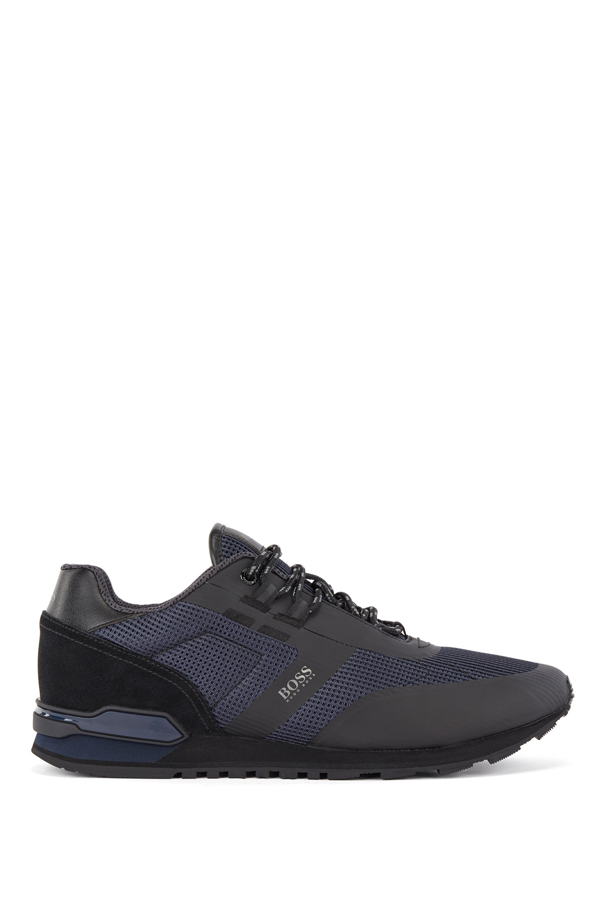 Hybrid trainers in nylon, mesh and leather, Dark Blue