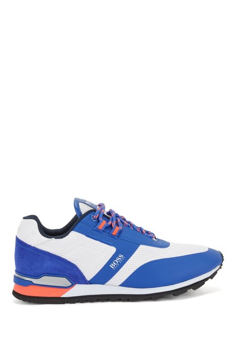 Hybrid trainers in nylon, mesh and leather, Light Blue