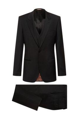 Three-piece slim-fit suit in virgin-wool panama, Black