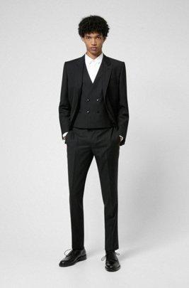 Slim-Fit Dreiteiler aus Panama-Schurwolle, Schwarz