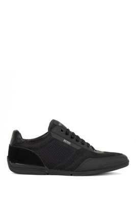 Low-top trainers in mesh with rubberised trims, Black