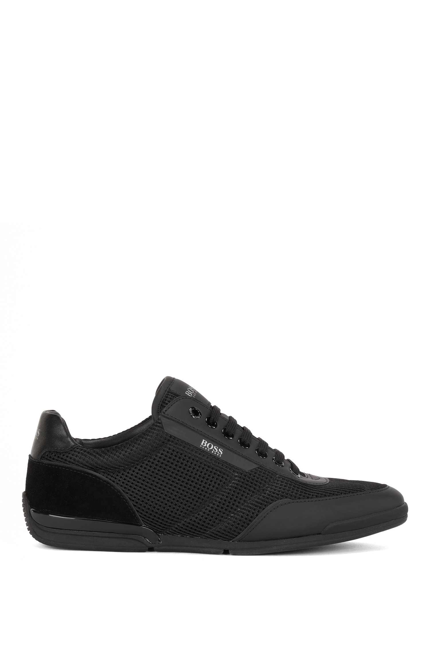 Sneakers aus Mesh mit gummierten Details, Schwarz