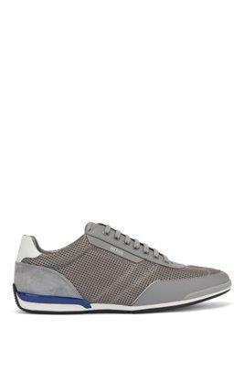 Sneakers aus Mesh mit gummierten Details, Grau