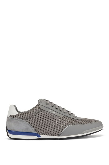 Low-top trainers in mesh with rubberised trims, Grey