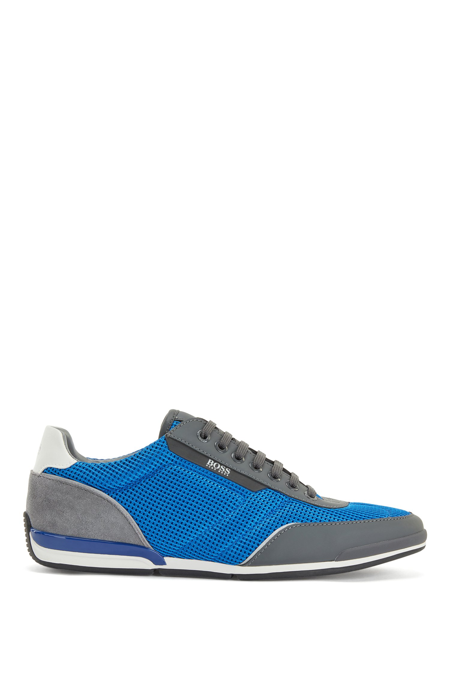 Low-top trainers in mesh with rubberised trims, Blue