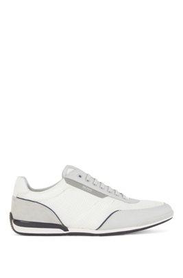Sneakers aus Mesh mit gummierten Details, Weiß