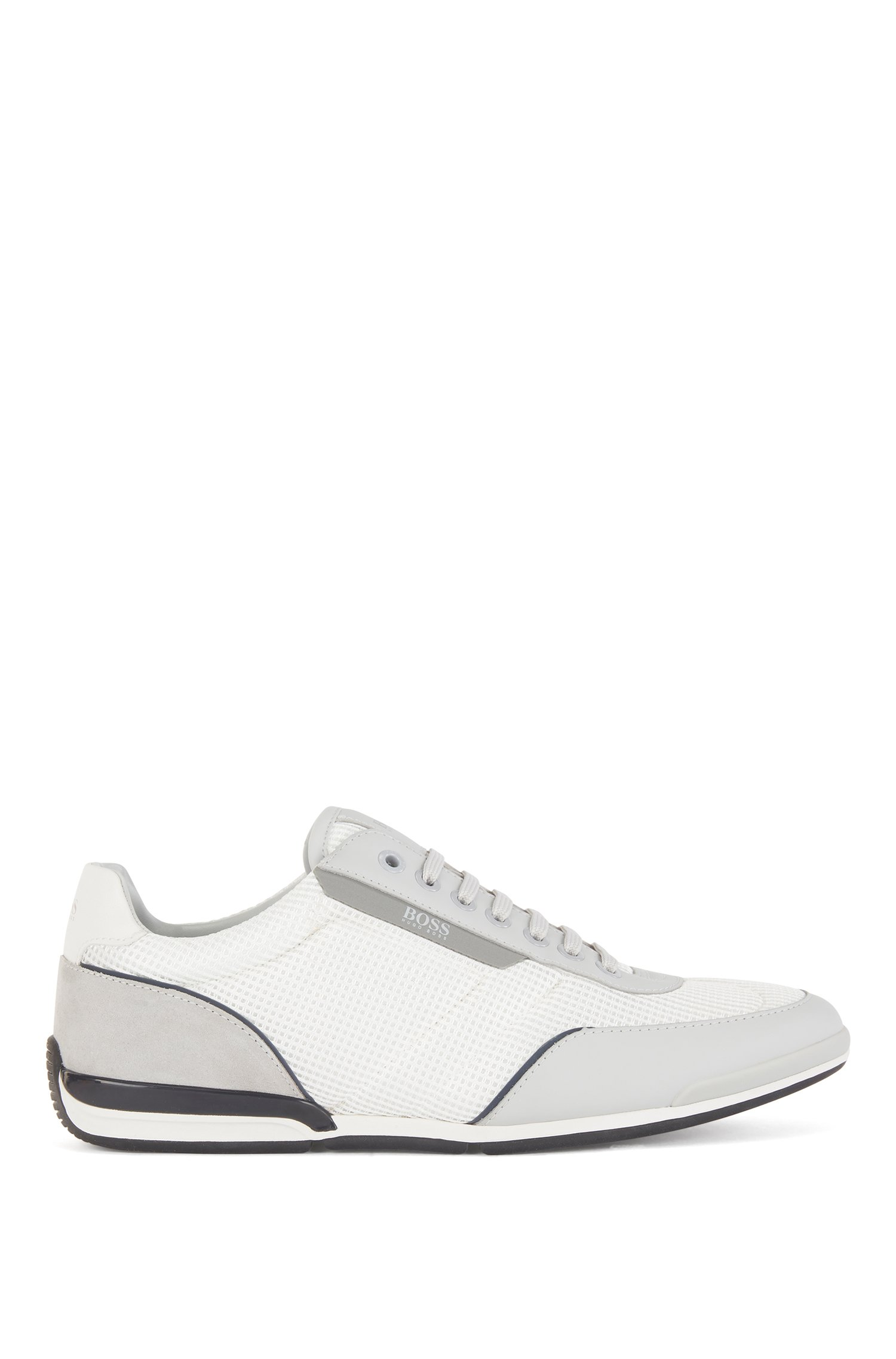 Low-top trainers in mesh with rubberised trims, White