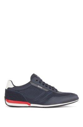 Sneakers aus Mesh mit gummierten Details, Dunkelblau