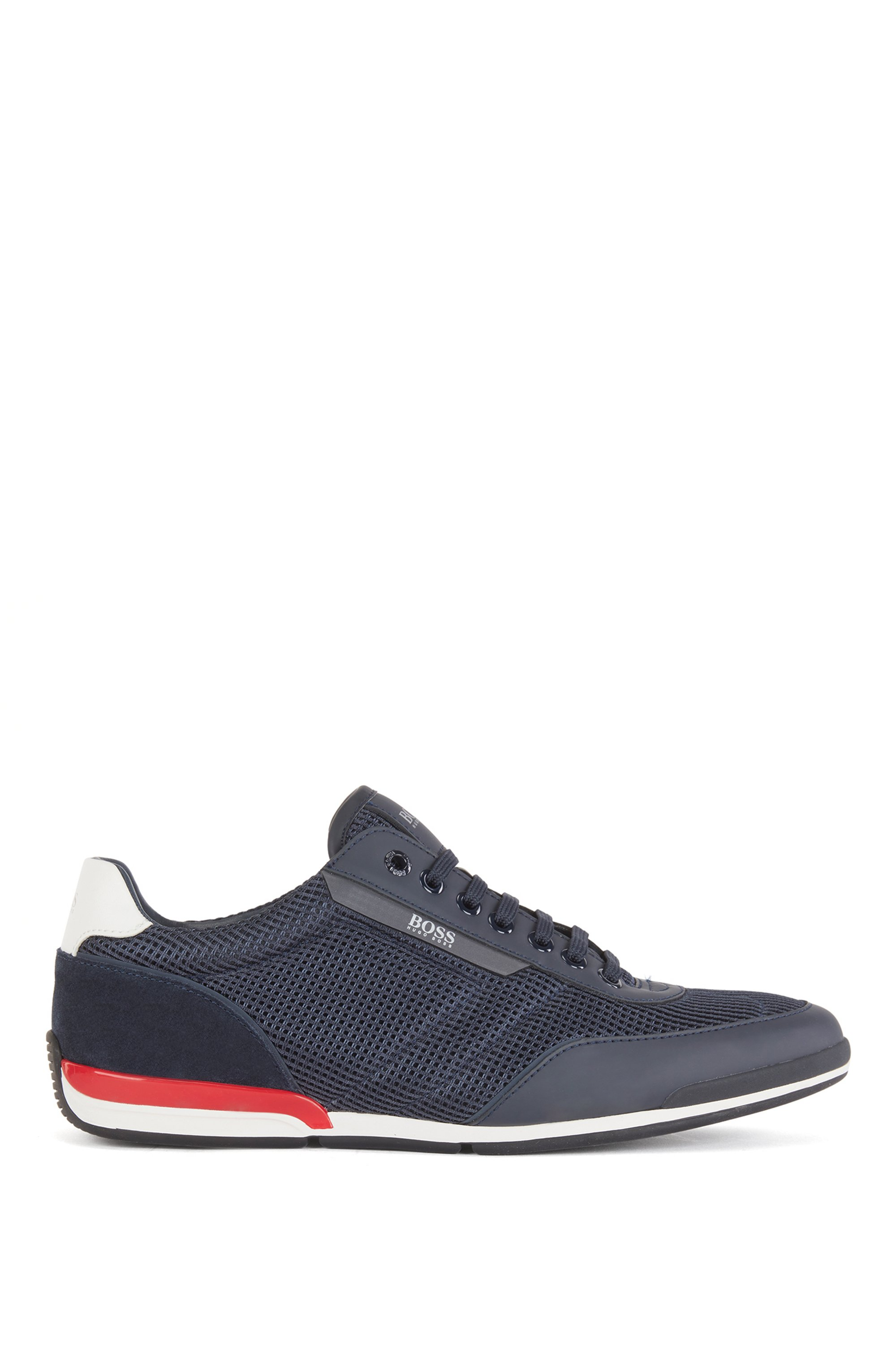 Low-top trainers in mesh with rubberised trims, Dark Blue
