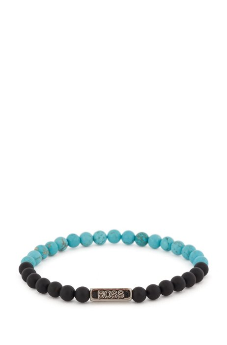 Colour-block agate beaded cuff with logo charm, Turquoise