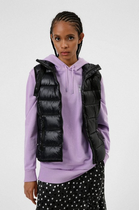 Regular-length packable padded gilet in lightweight recycled fabric, Black