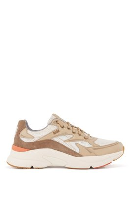 Running-inspired trainers in leather, suede and open mesh, Light Beige