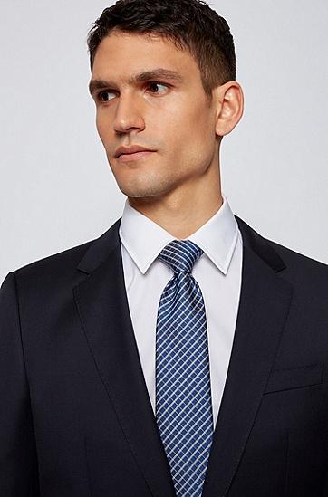 防水真丝提花格纹领带,  401_Dark Blue