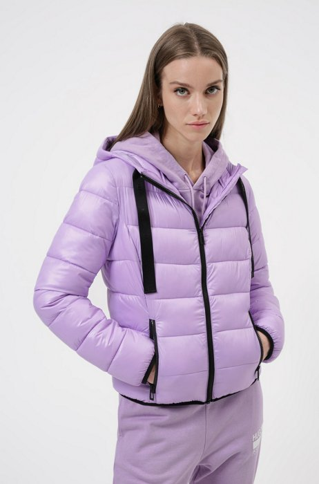 Packable padded jacket in recycled fabric with logo details, Purple