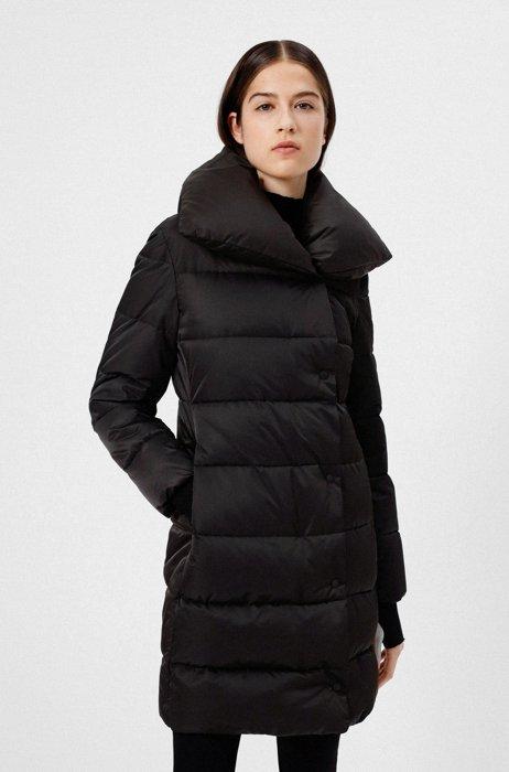 Gewatteerde jas van gerecycled materiaal met logopatch aan de achterkant, Zwart
