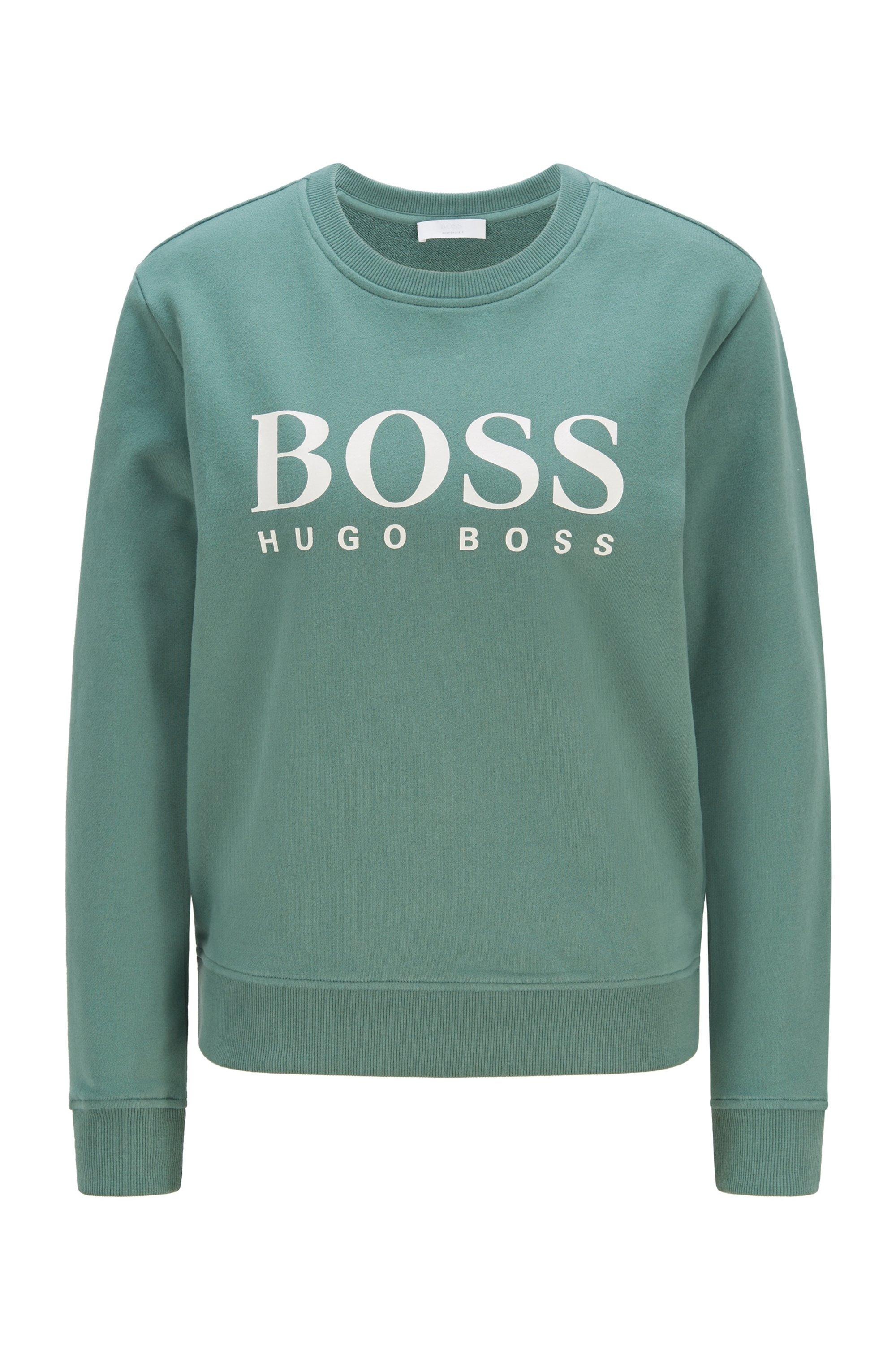 Organic-cotton sweatshirt with foil-print logo, Light Green