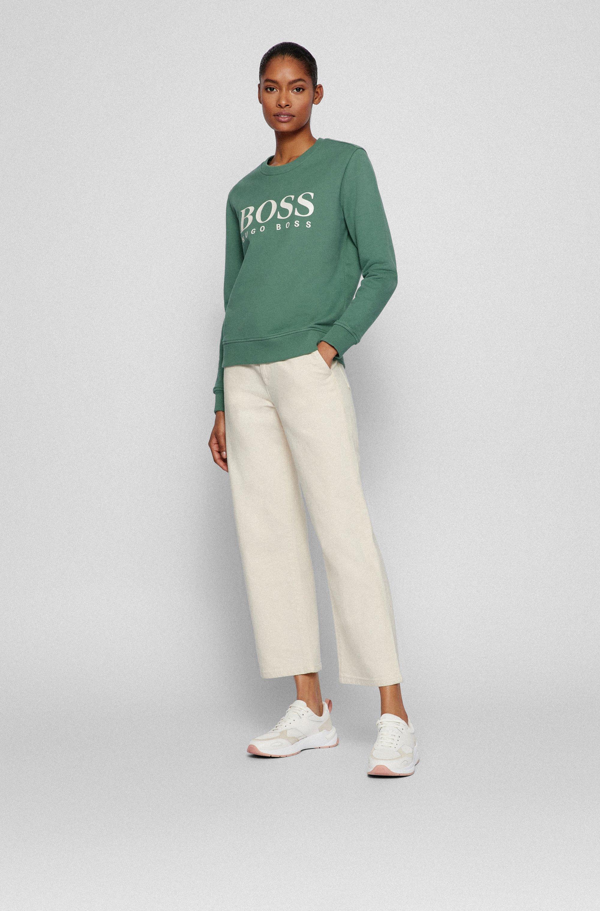 Organic-cotton sweatshirt with foil-print logo