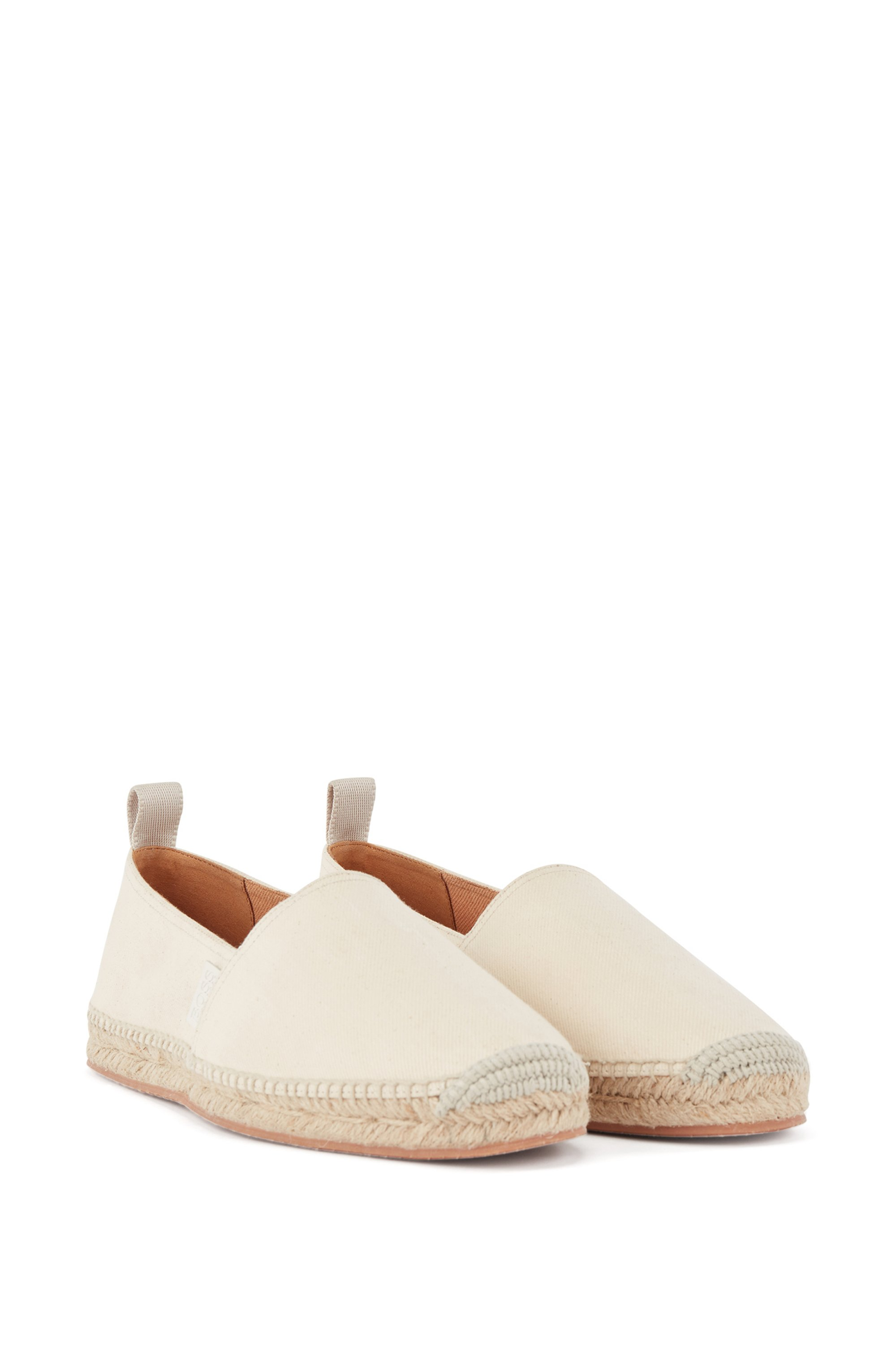 Jute-trimmed espadrilles in organic cotton with stretch