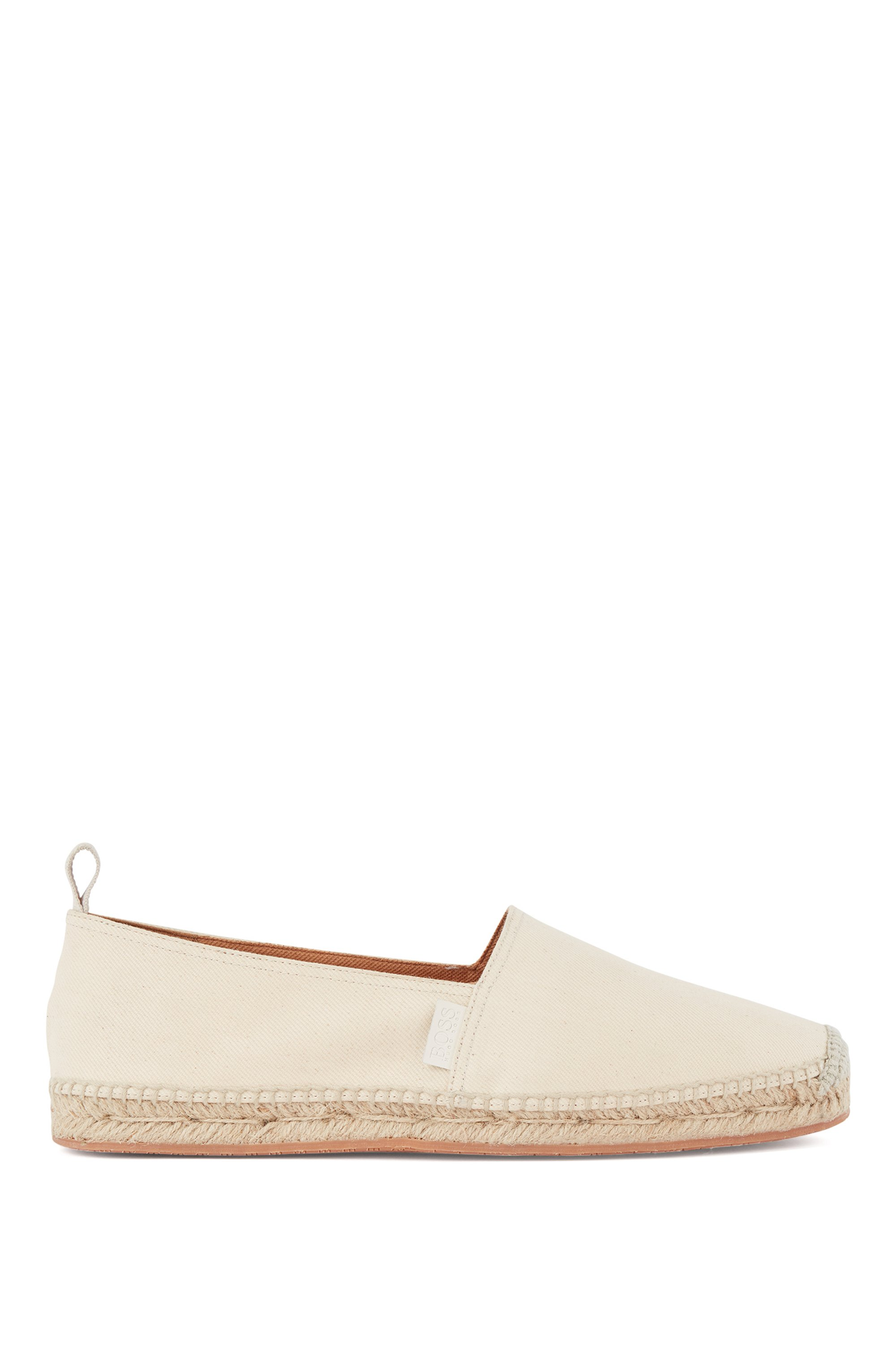Jute-trimmed espadrilles in organic cotton with stretch, Light Beige