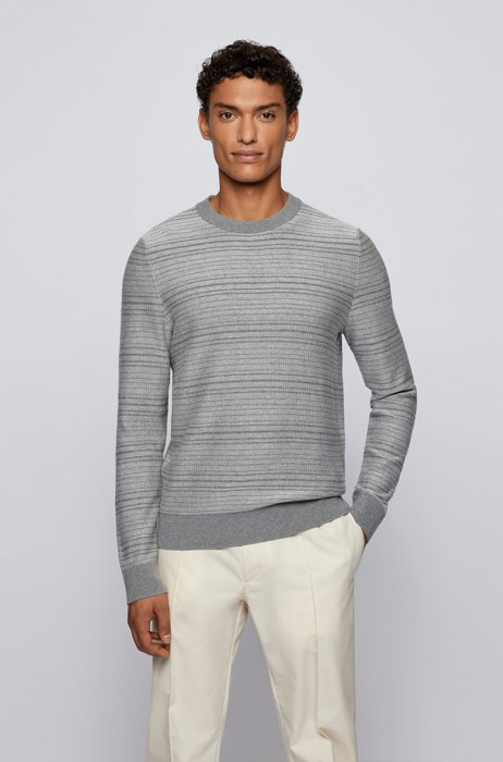 Knitted sweater in cotton and wool with crew neck, Grey