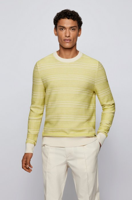 Knitted sweater in cotton and wool with crew neck, White