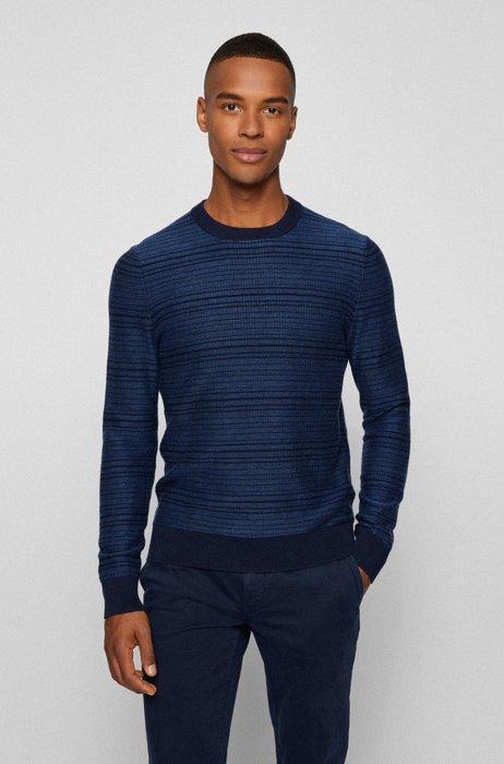Maglione a girocollo in cotone e lana, Blu scuro