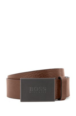 Italian-made belt in smooth leather with logo plaque, Dark Brown