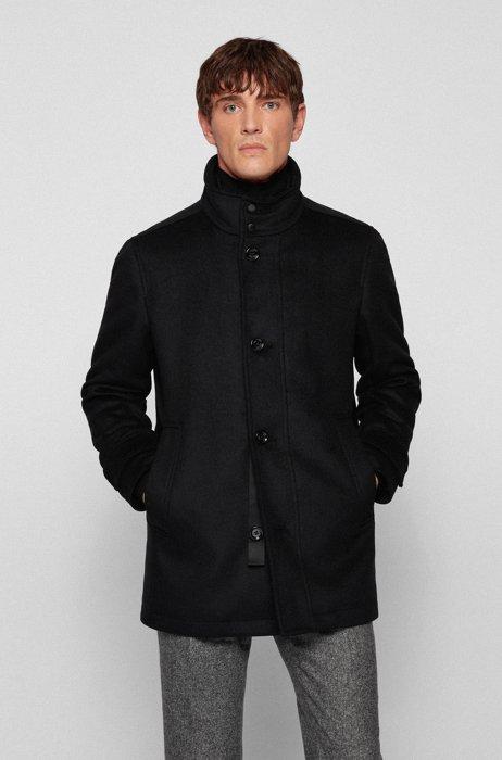 Cappotto regular fit in misto lana con pettorina interna imbottita, Nero