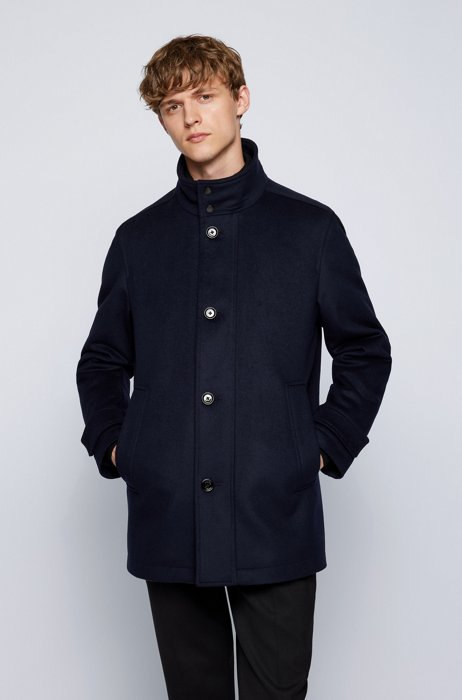 Wool-blend regular-fit coat with quilted inner bib, Dark Blue