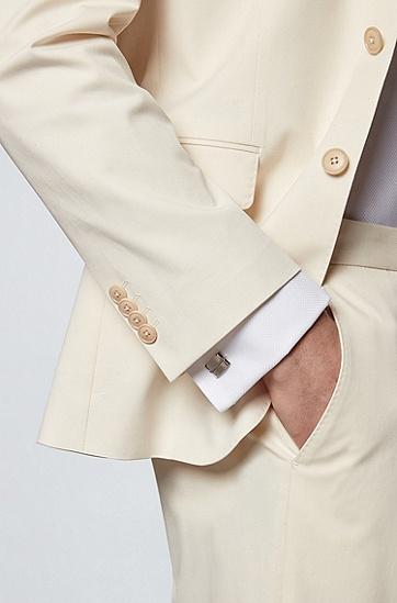 嵌刻线条矩形黄铜袖扣,  040_Silver