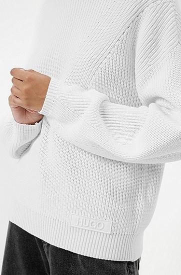 徽标饰片棉质混合针织毛衣,  102_Natural