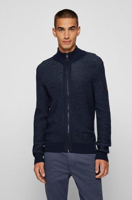 Regular-Fit Jacke mit Logo-Aufnäher aus Silikon, Dunkelblau