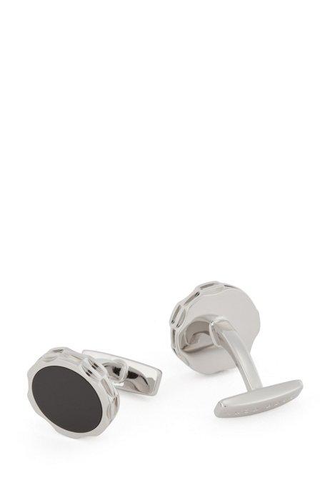Gear-shaped brass cufflinks with enamel core, Black