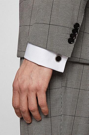 珐琅核心齿轮形黄铜袖扣,  001_Black
