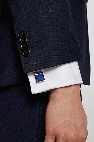蚀刻字母组合图案珐琅表面方形袖扣,  428_Medium Blue