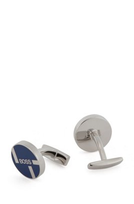 Round cufflinks with coloured face and logo artwork, Blue