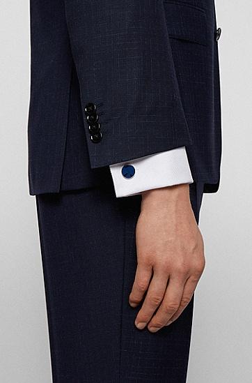 彩色表面和徽标艺术图案圆形袖扣,  428_Medium Blue