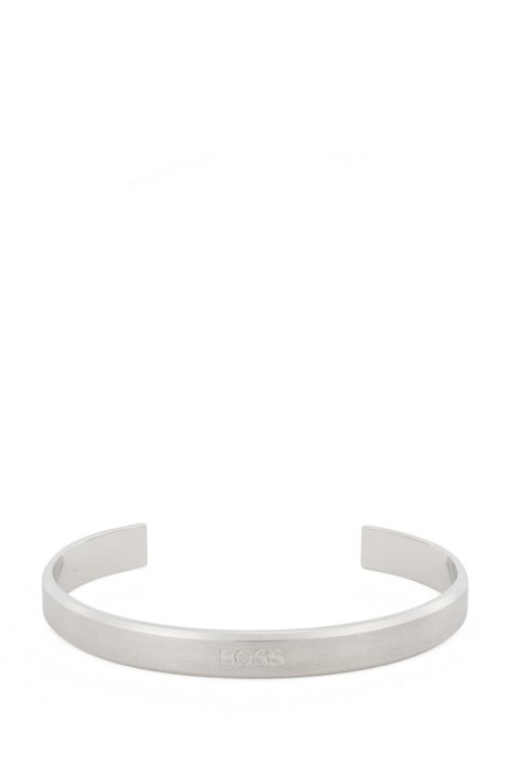 Logo-engraved bevelled cuff in stainless steel, Silver