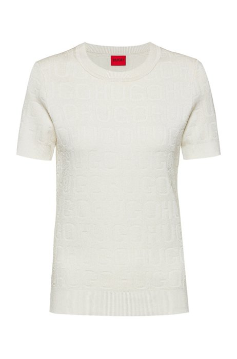 Short-sleeved sweater with all-over knitted logos, White