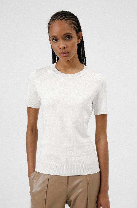 Pull à manches courtes à logos tricotés, Blanc