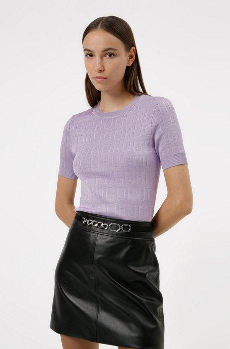Pull à manches courtes à logos tricotés, Lilas