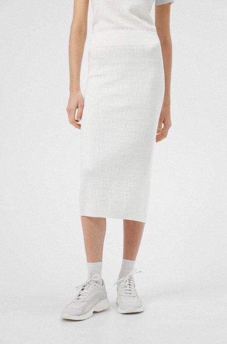 Gebreide rok van stretchmateriaal met all-over-logo's, Wit