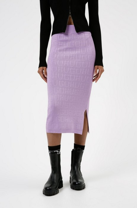 Knitted skirt in stretch fabric with all-over logos, Purple