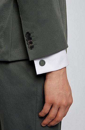 蚀刻徽标圆形哑光袖扣,  301_Dark Green