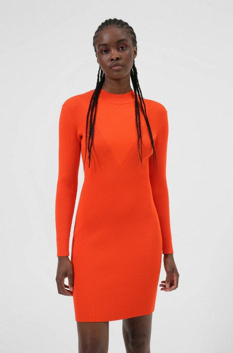 Knitted long-sleeved dress with mixed structures, Red